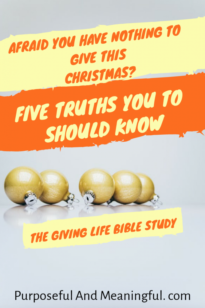The Giving Life Christmas Bible Study: Are YouTorn with worry about the Christmas Holiday? Is your finance tight? Whether or not you are on a lean budget,you can be a part of Christmas. Read these freeing truths you should hold dear.
